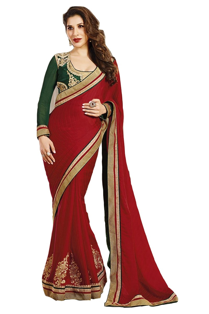 Designer Red Embroidered Georgette Saree With Blouse - JOM2811144 ( JOM9900 - JOM-2811 )