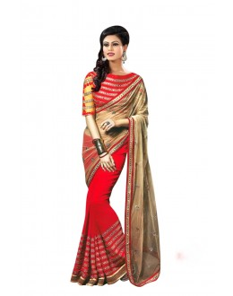 Designer Red Embroidered Georgette Saree With Blouse - JOM2843116 ( JOM9900 - JOM-2811 )