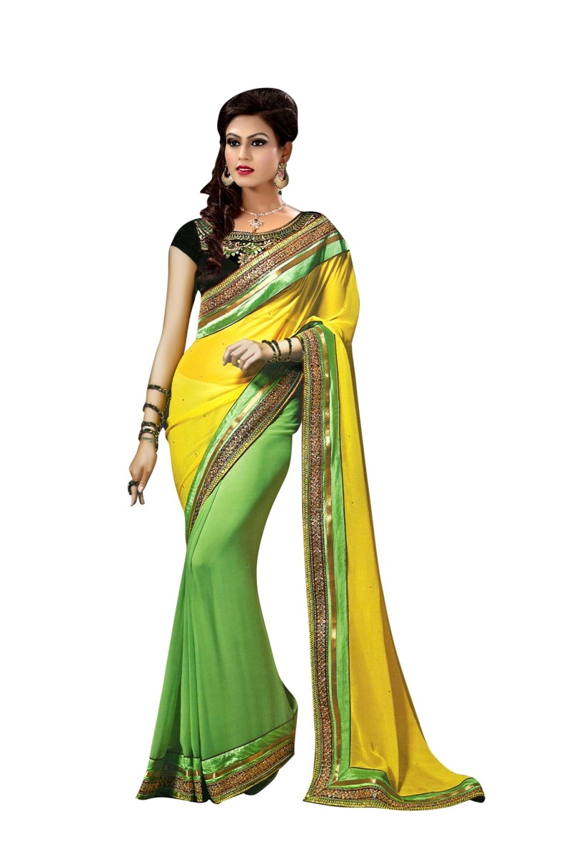 Designer Yellow & Green Embroidered Georgette Saree With Blouse - JOM2843114 ( JOM9900 - JOM-2811 )