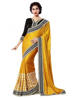 Designer Yellow Embroidered Georgette Saree With Blouse - JOM2811133 ( JOM9900 - JOM-2811 )