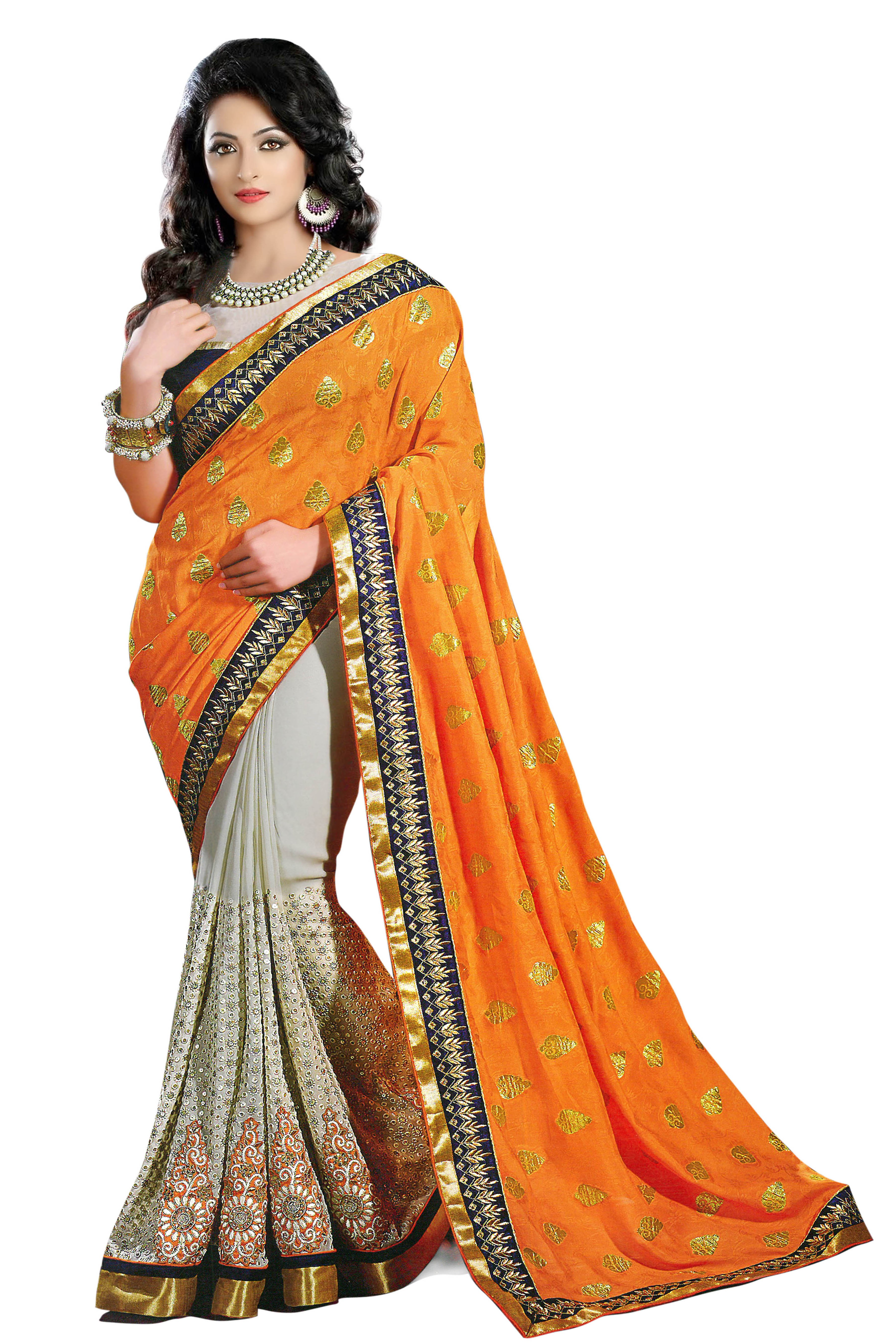 Designer Yellow Embroidered Georgette Saree With Blouse - JOM2821146 ( JOM9900 - JOM-2811 )