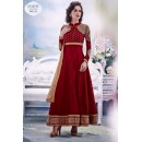 Designer Red Embroidered Georgette Anarkali Suit - JOM28SK13313 ( Jom-666 )