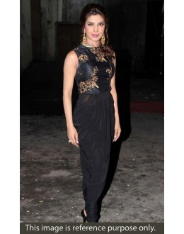 Priyanka Chopra Bollywood Replica Black Machine Work Georgette Patiala Suit - JOM283BT21 ( Jom-666 )