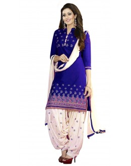 Party Wear Blue Crepe Salwar Suit - 219