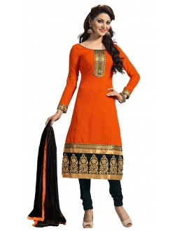 Casual Wear Orange Crepe Salwar Suit - 216
