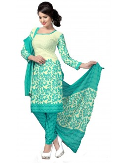 Casual Wear Cream Crepe Salwar Suit - 213