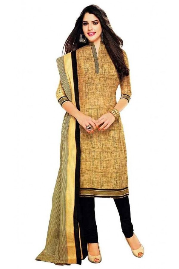 Casual Wear Yellow Crepe Salwar Suit - 210