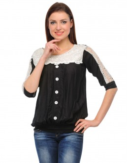 Black- White Colour Neted Half  Sleeves  Western Wear  Top  - TOP2027 - Blk(KHG-Top101)