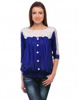 Blue & White Colour Neted Half  Sleeves  Western Wear  Top  - TOP2027 - Blu(KHG-Top101)