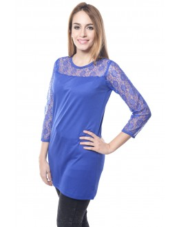 Blue Colour Designer Western Wear Top With Neted Neck Design - TOP2020 - Blu (KHG-Top101)