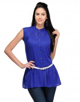 Blue Colour  Designer Western Wear Top With White Belt - TOP2016 - Blu (KHG-Top101)