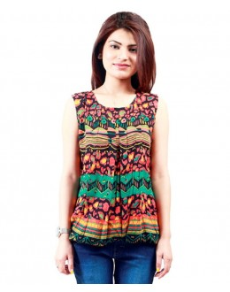 Designer  Orange Colour Printed Party Wear  Top - TOP2001 -Orng (KHG-Top101)