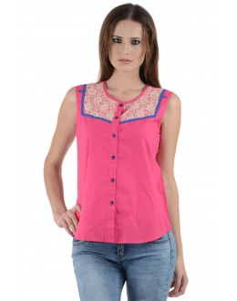 Designer Pink Colour  Western Wear Shirt with white net  - SHT8004 - Pnk (KHG-Top101)