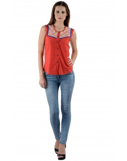 Designer Red Colour  Western Wear Shirt with white net  - SHT8004 -Rd (KHG-Top101)