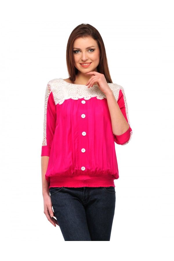 Pink & White Colour Neted Half  Sleeves  Western Wear  Top  - TOP2027 - Pnk (KHG-Top101)