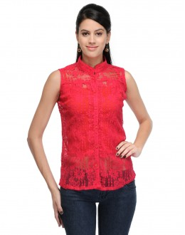 Pink Colour Designer Western Wear Neted  Top  - TOP2021 - Pnk (KHG-Top101)
