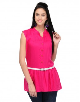 Pink Colour  Designer Western Wear Top With White Belt - TOP2016 - Pnk (KHG-Top101)