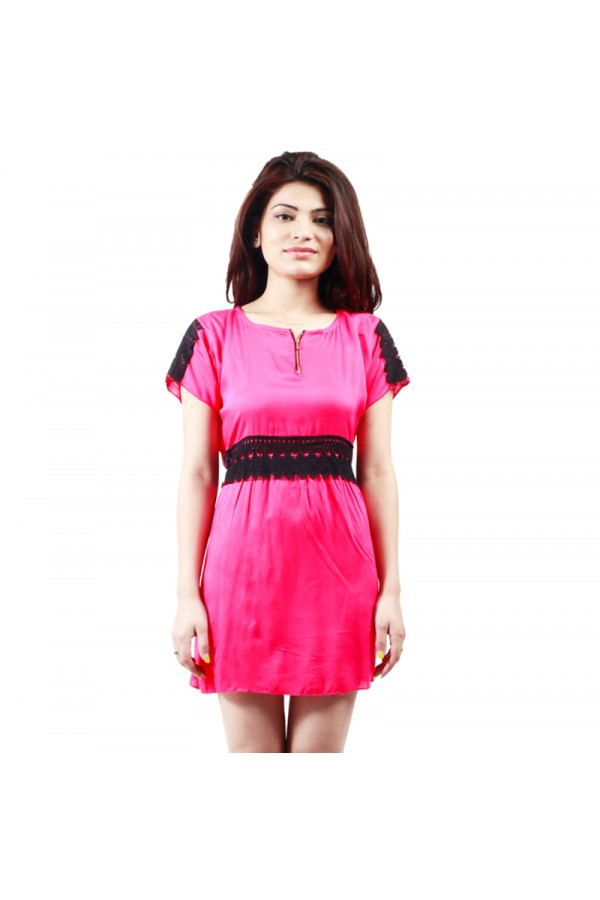 Pink Colour  Western Wear  Tunic  - TUC4003 - Pnk (KHG-Top101)