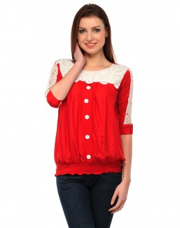 Red & White Colour Neted Half  Sleeves  Western Wear  Top  - TOP2027 - Rd (KHG-Top101)
