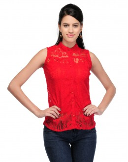 Red Colour Designer Western Wear Neted  Top  - TOP2021 -Rd  (KHG-Top101)