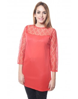 Red Colour Designer Western Wear Top With Neted Neck Design - TOP2020 - Rd (KHG-Top101)