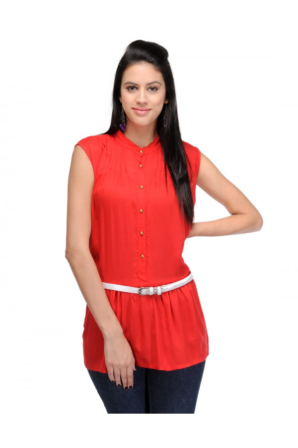 Red Colour  Designer Western Wear Top With White Belt - TOP2016 - Rd (KHG-Top101)