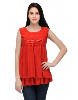 Red Colour  Western Wear  Top  - TOP2023 - Rd (KHG-Top101)