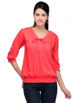 Red  Colour  Western Wear  Top  - TOP2026 - Rd  (KHG-Top101)