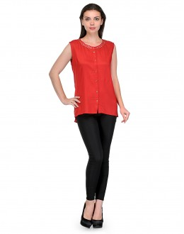 Stylish Red Colour  Western Wear  top With Golden Design Around neck - TOP2008_Rd (KHG-Top101)