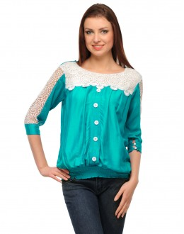Turq & White Colour Neted Half  Sleeves  Western Wear  Top  - TOP2027 - Trq KHG-Top101)