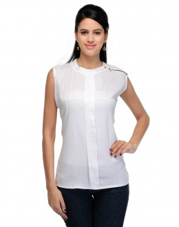 White Colour Designer Western Wear Top  - TOP2018 - Whte (KHG-Top101)