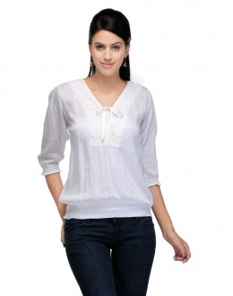 White  Colour  Western Wear  Top  - TOP2026 - Whte (KHG-Top101)