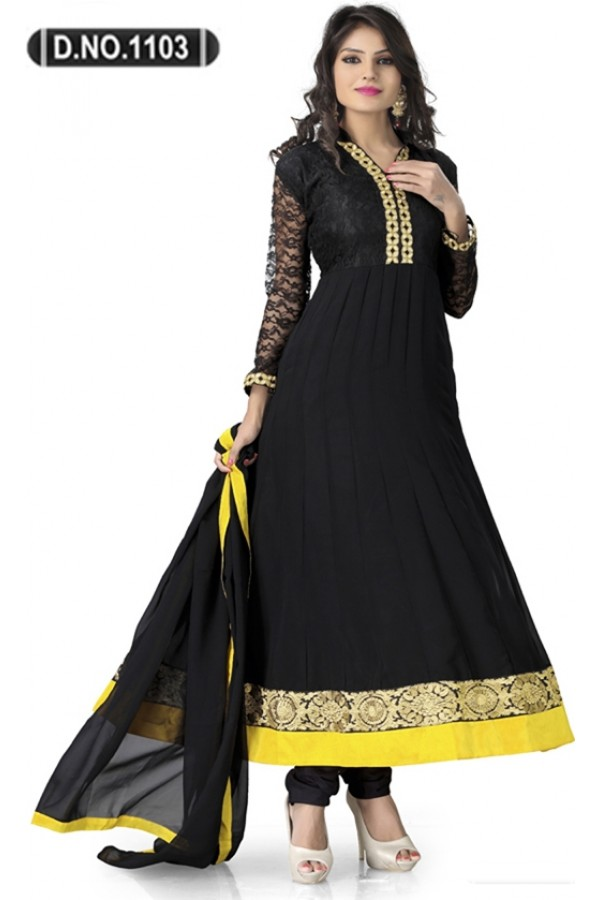Bollywood Replica - Traditional Black Anarkali Suit   - 1103