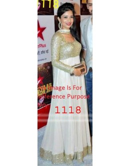 Bollywood Replica - Designer White Anarkali Suit   - 1118