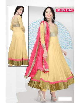 Bollywood Replica - Traditional Beige Anarkali Suit   - 1124