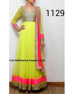 Bollywood Replica - Party Wear Parrot Green Anarkali Suit   - 1129