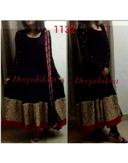 Bollywood Replica - Party Wear Black Anarkali Suit   - 1132