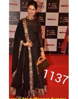 Bollywood Replica - Traditional Black Anarkali Suit   - 1137