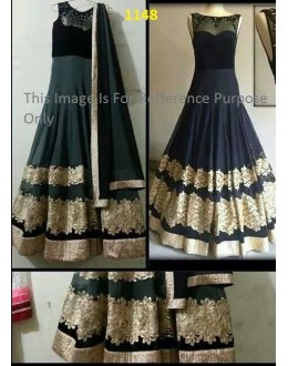 Bollywood Replica - Party Wear Black Anarkali Suit   - 1148-B