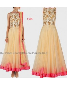 Bollywood Replica - Party Wear Beige Anarkali Suit   - 1151