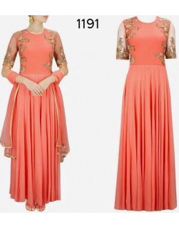 Bollywood Replica - Fancy Peach Anarkali Suit   - 1191