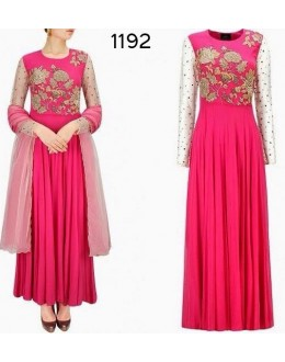Bollywood Replica - Fancy Dark Pink Anarkali Suit   - 1192