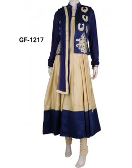 Bollywood Replica - Designer Blue & Cream Anarkali Suit   - 1217