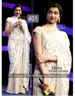 Bollywood Replica-Deepika Padukone Silver Screen Off-White Net Party Wear Saree-401( MJ-400 )