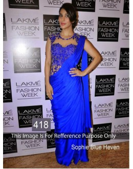 Bollywood Replica-Sophie Chaudhary Designer Silk Georgette Blue Party Wear Saree-418( MJ-400 )