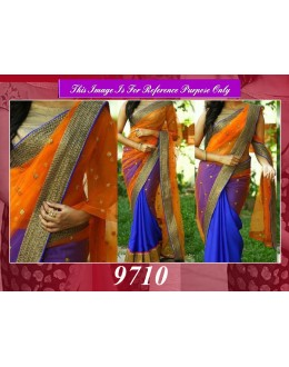 Bollywood Replica - Wedding Wear Orange & Blue Half-Half Saree - 9710