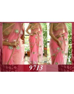 Bollywood Replica - Party Wear Pure Round Net Pink Saree - 9713