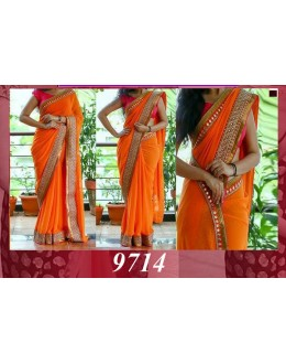 Bollywood Replica - Wedding Wear Orange Mirror Border Saree - 9714