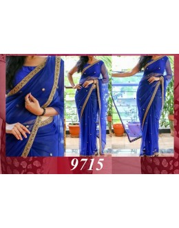 Bollywood Replica - Wedding Wear Blue Round Net Saree - 9715