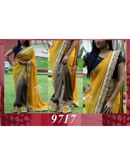 Bollywood Replica - Wedding Wear Yellow & Black Saree - 9717